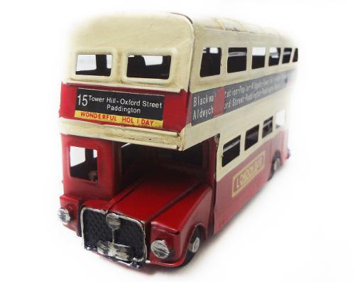 Onibus Vintage Retro De Londres 17cm Ferro Vermelho Com Bege (CJ-008 Bege)