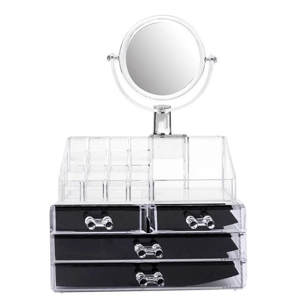 Organizador de Maquiagem Estojo Make Espelho Gaveta Batom Acrilico