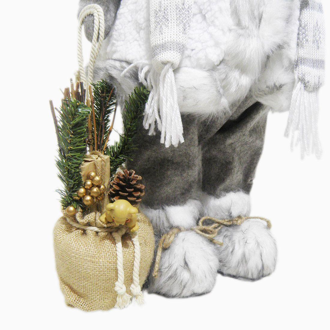 Papai Noel de Luxo Natal Boneco Natalino 65cm Decoracao Neve Branco