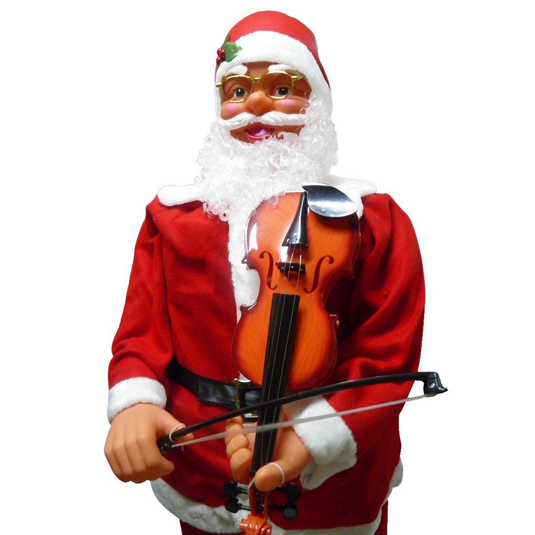 Papai Noel Decoracao Natal Musical Natalino 180m Dança E Toca Com Violino
