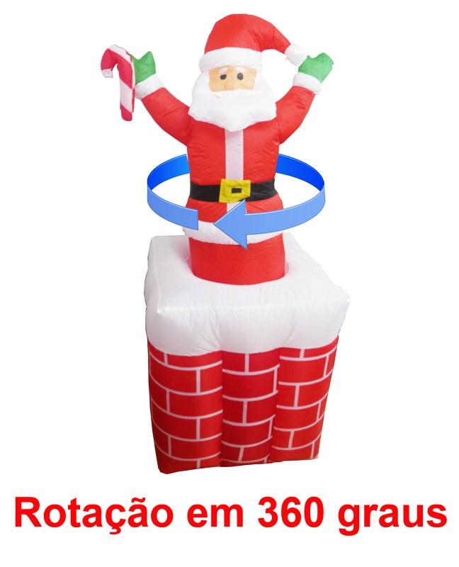 Papai Noel Inflavel de Natal Giratorio Na Chamine Decoracao (Bsl-36041-4)