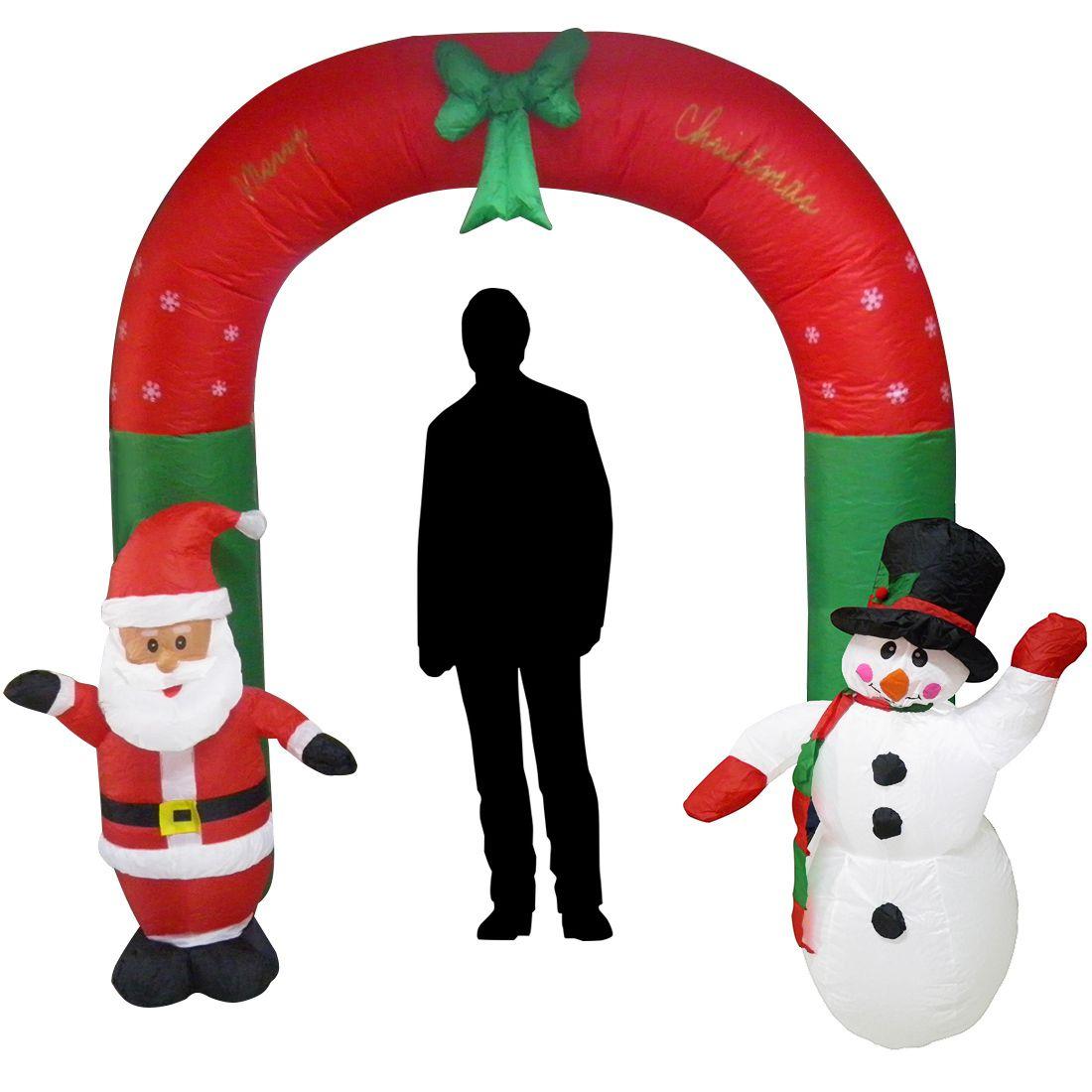 Papai Noel Natal Boneco de Neve em Arco 2 metros e 30 cm Inflavel Natalino