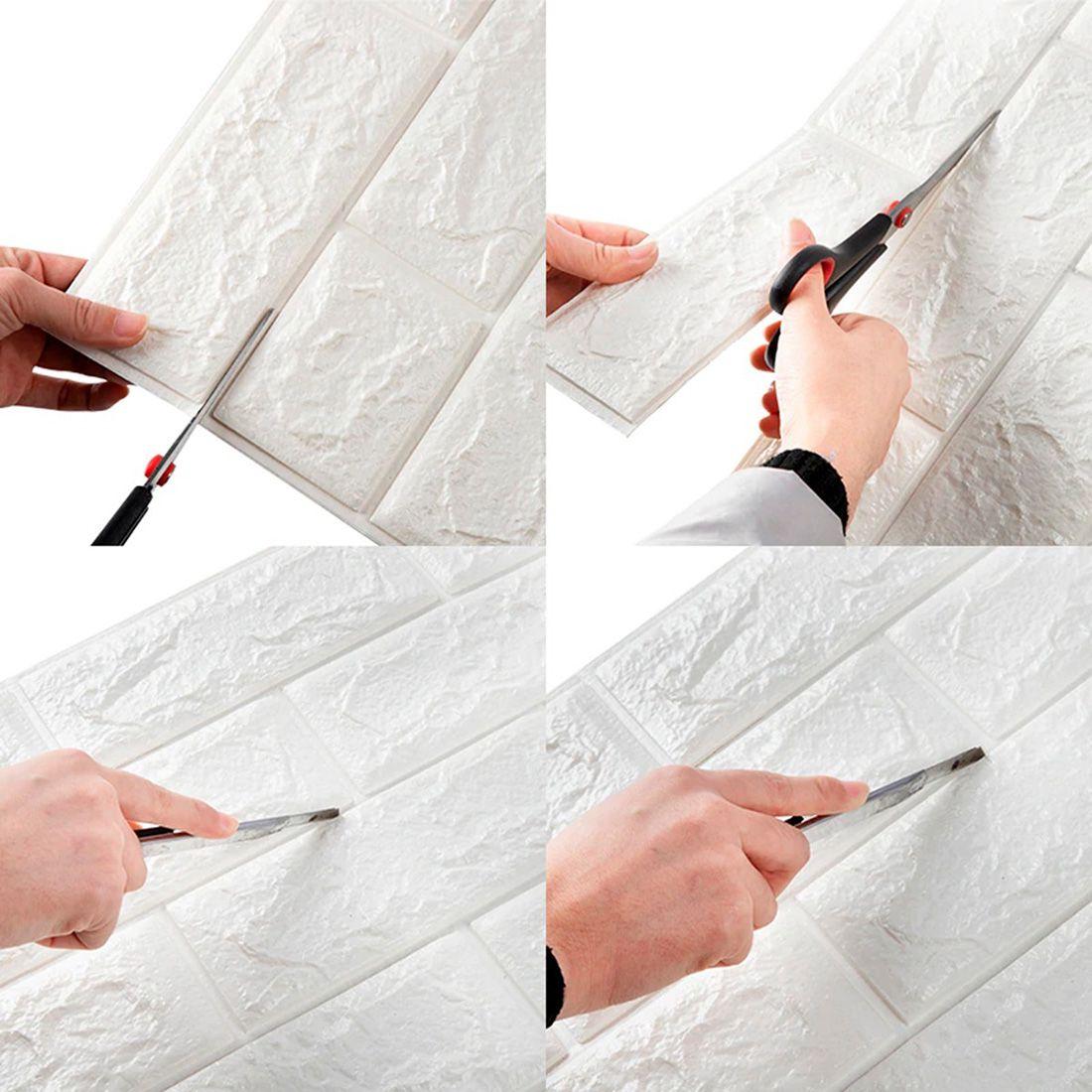 Papel de Parede 3D Kit 10 Placas Painel 70 x 76 cm Adesivo Casa Sala Quarto