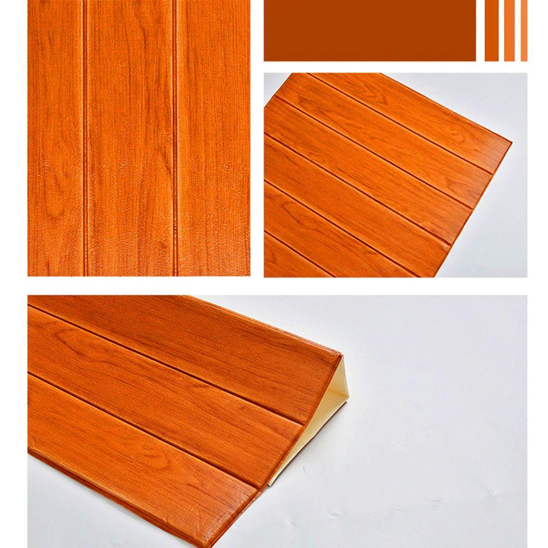 Papel de Parede 3D Placa Adesivo Kit 6 Painel Alto Relevo Madeira 70cm
