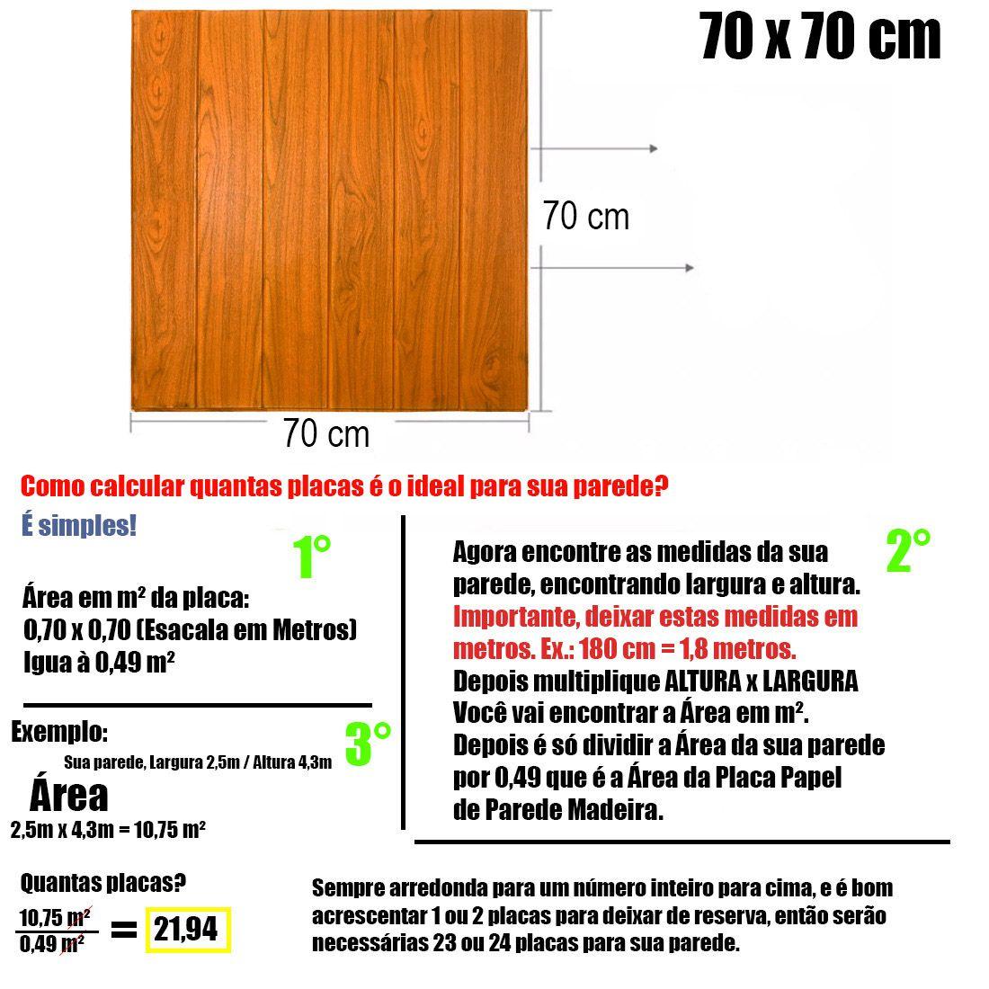 Papel de Parede 3D Placa Adesivo Kit 10 Painel Alto Relevo Madeira 70cm