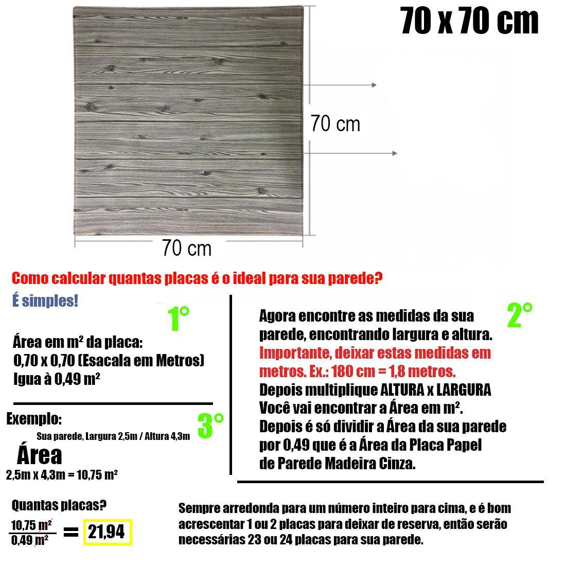 Papel de Parede 3D Placa Adesivo Kit 6 Painel Alto Relevo Madeira Cinza 70cm