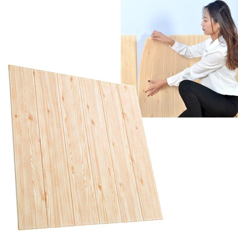 Papel de Parede 3D Placa Adesivo Painel Alto Relevo Madeira Clara 70cm