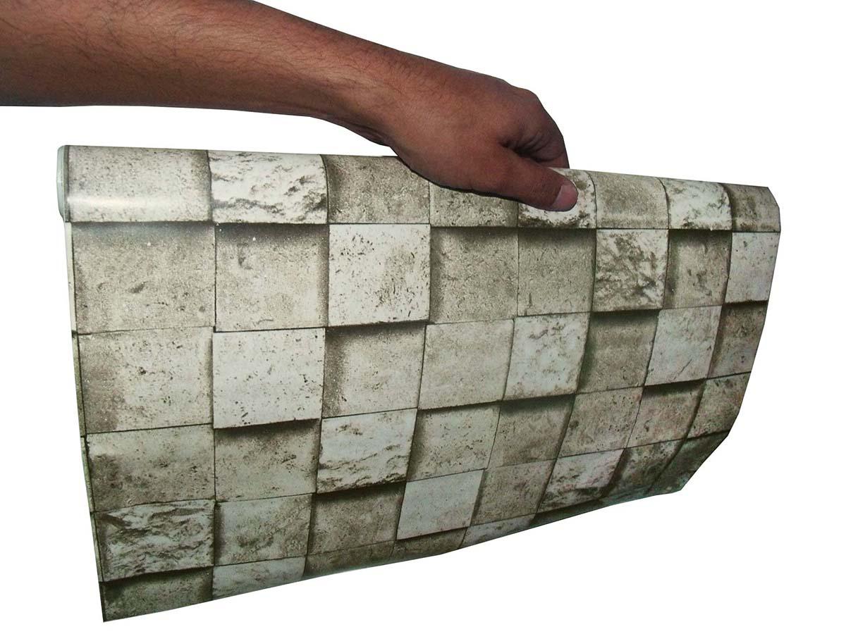 Papel de Parede Autoadesivo Vinilico Rolo Lavavel Fosco Decorativo Canjiquinha Pedra Cinza (bsl-42079-1-G-4)