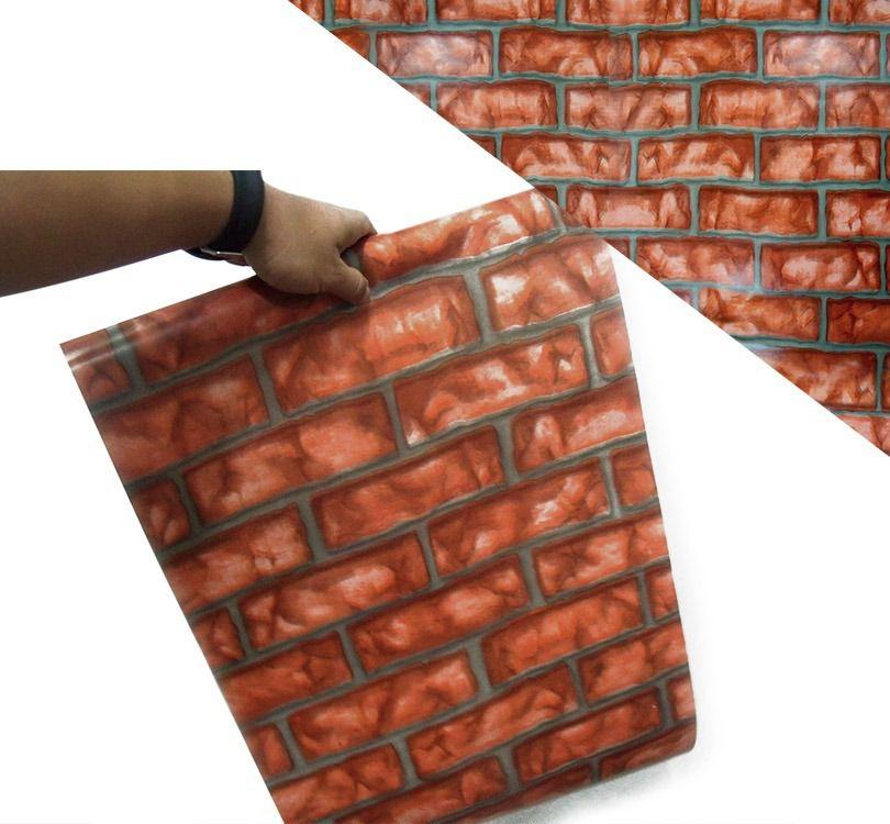 Papel de Parede Kit Com 20 Unid Tijolos Adesivo Vinilico Lavavel Pedra Vermelho (bsl-42079-1-i)