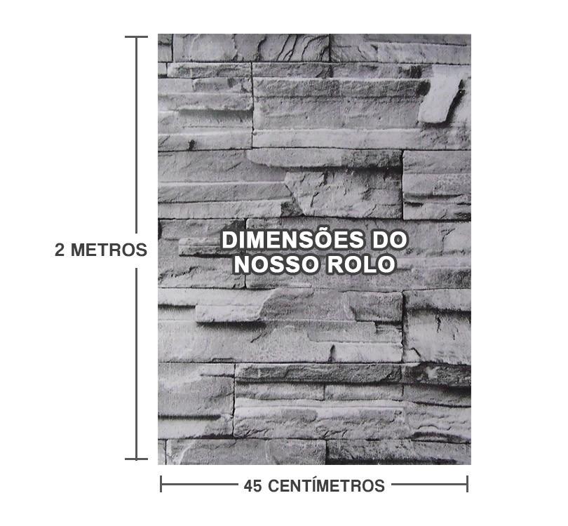 Papel de Parede Pedra Tijolos Auto Adesivo Canjiquinha Vinilico Lavavel Cinza (bsl-42079-1-D-3)