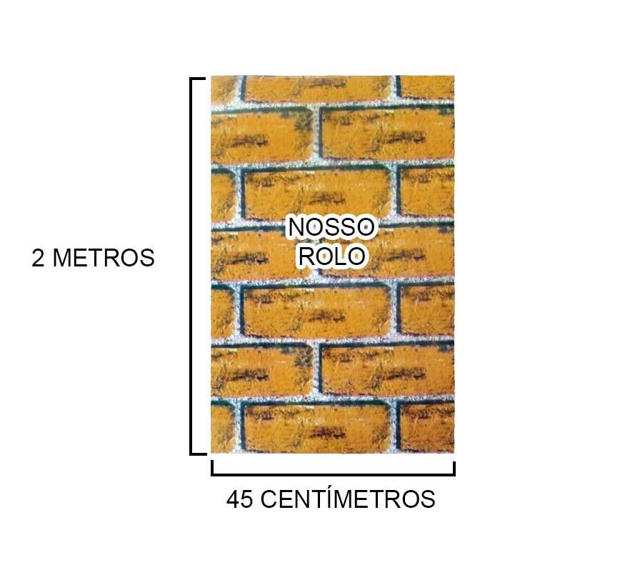 Papel de Parede Tijolos Adesivo Vinilico Rolo Lavavel Laranja (bsl-42079-1-C)
