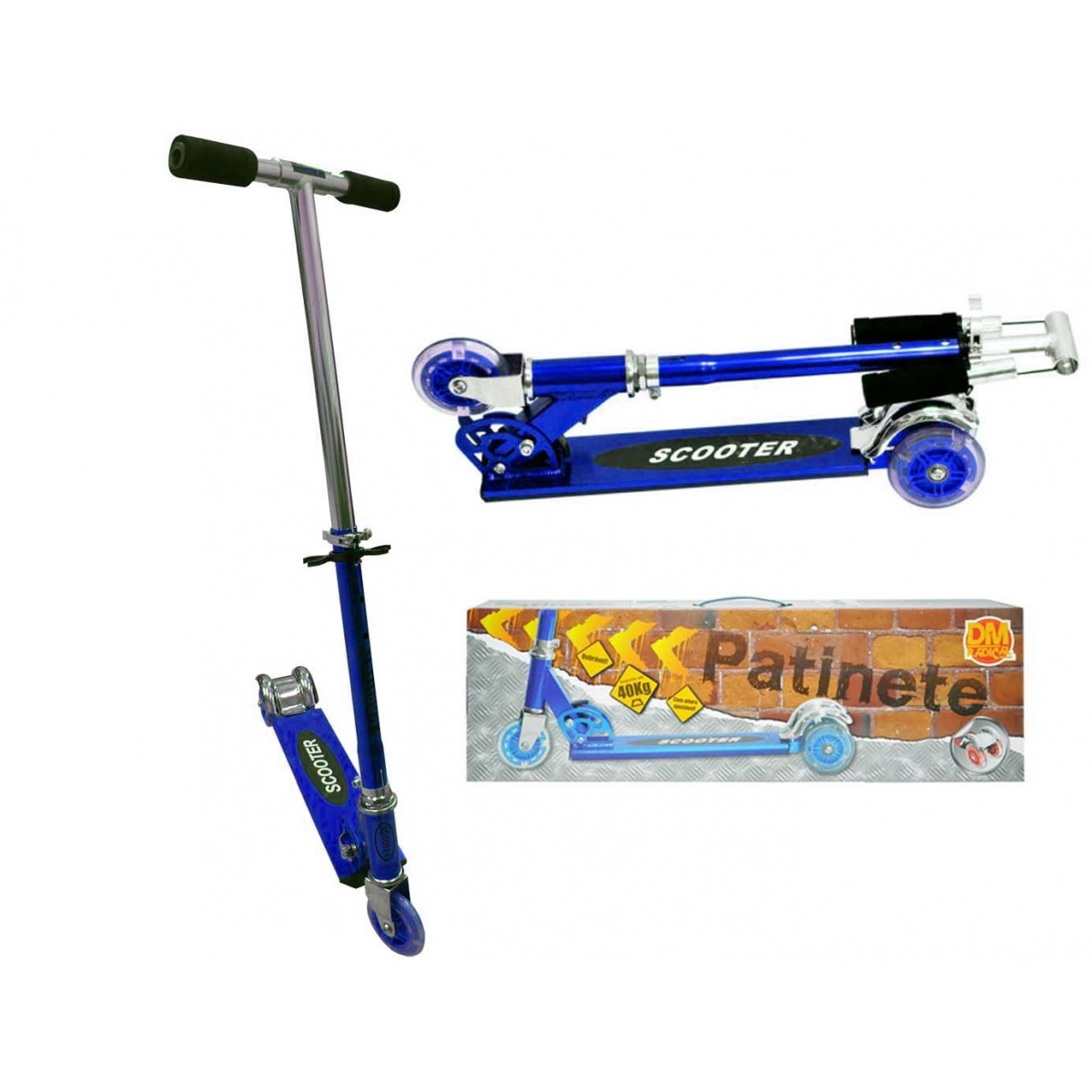 Patinete 3 Rodas Infantil Aluminio Scooter Metalizado Dobravel Altura Ajusta Freio Traseiro Azul (DMR4455)