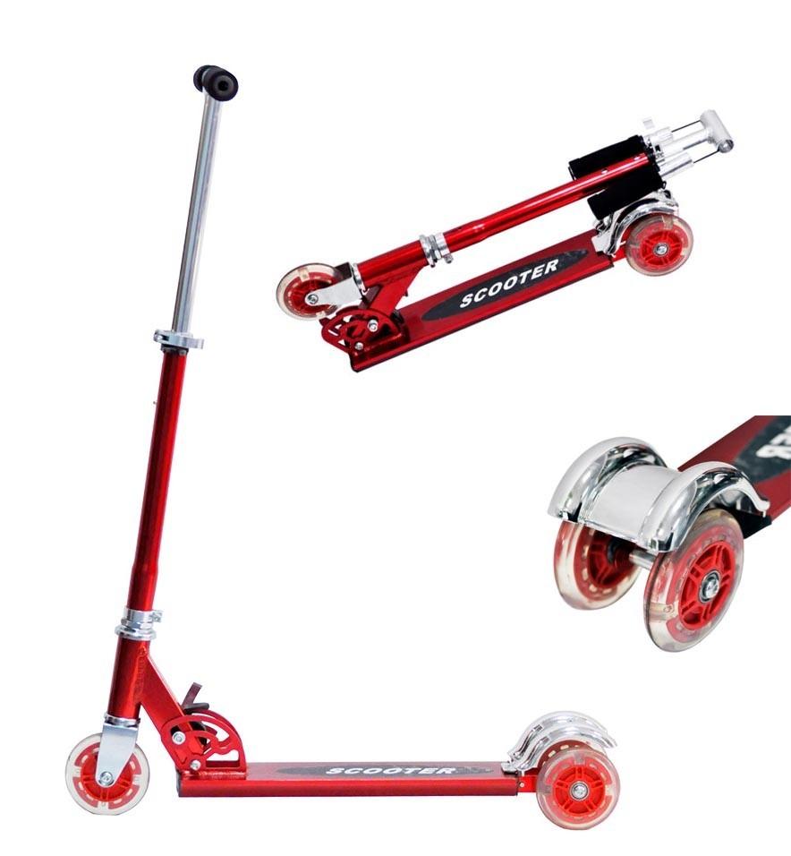 Patinete 3 Rodas Infantil Aluminio Scooter Metalizado Dobravel Altura Ajusta Freio Traseiro Vermelho (DMR4455)
