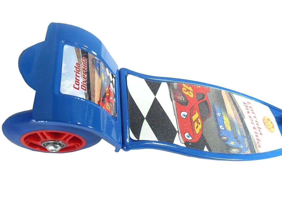 Patinete 3 Rodas Infantil Dobravel Ajuste Altura Com Freio Scooter Corrida Divertida 50 kg Azul (DMR4879 Azul)