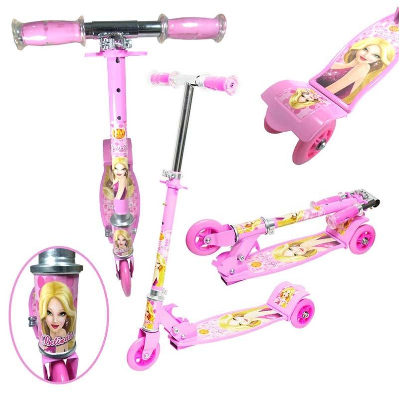 Patinete 3 Rodas Infantil Dobravel Ajuste Altura Com Freio Scooter Menina 50 kg Rosa (DMR4879 Rosa)
