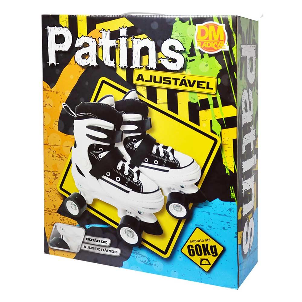 Patins 4 Rodas All Style Ajustavel Roller Classico 33 ao 36 Retro Preto (DMR5163)