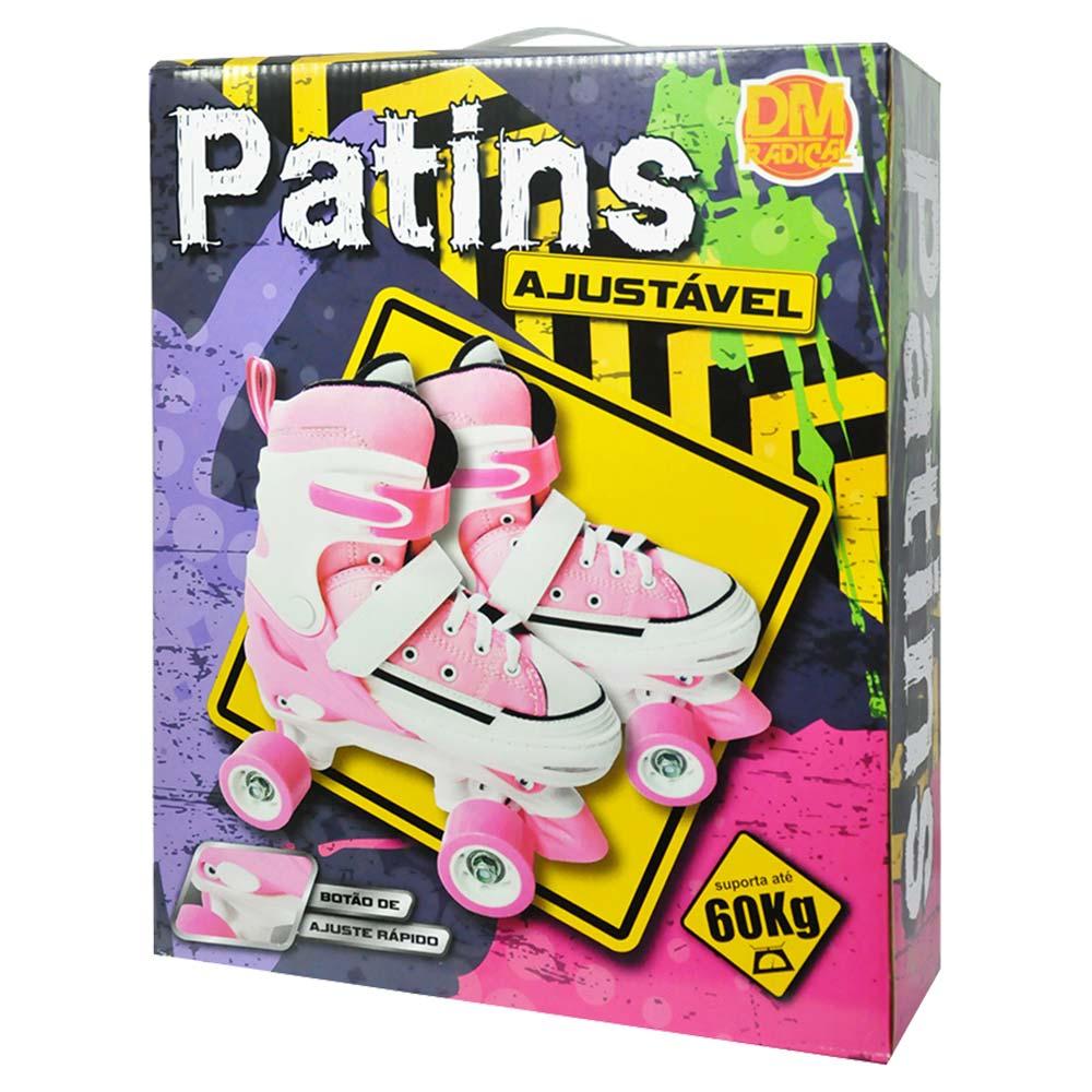 Patins Ajustavel 4 Rodas Classico All Style 33 ao 36 Roller Retro Rosa (DMT5164)