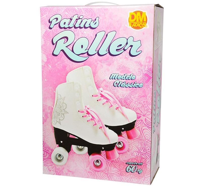 Patins Retrô 4 Rodas Roller Classico Feminino Tamanho 34 Branco