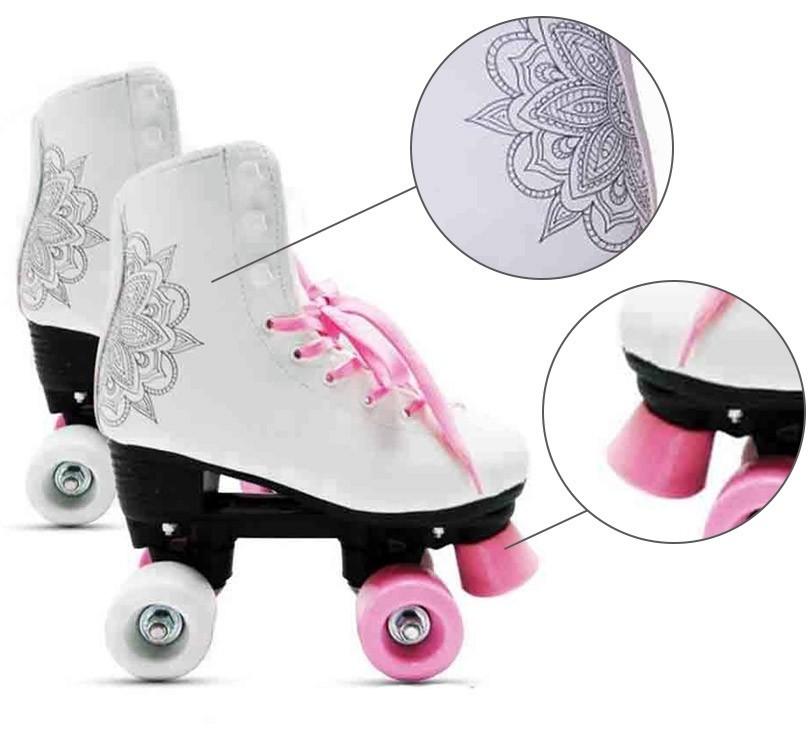 Patins Retrô 4 Rodas Roller Feminino Tamanho 32 Classico Branco (DMR5167 / R32)