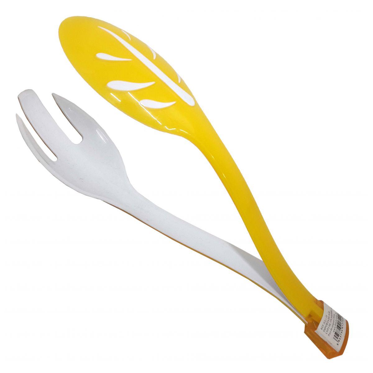 Pegador Para Salada Alimentos Cozinha Plastico Garfo Colher Amarelo (sili-10)