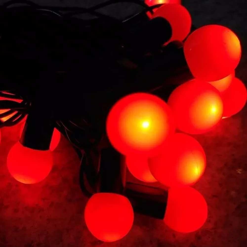 Pisca Pisca de Led Natal 20 Bolinhas 8 Funçoes Bivolt Enfeite Vermelho