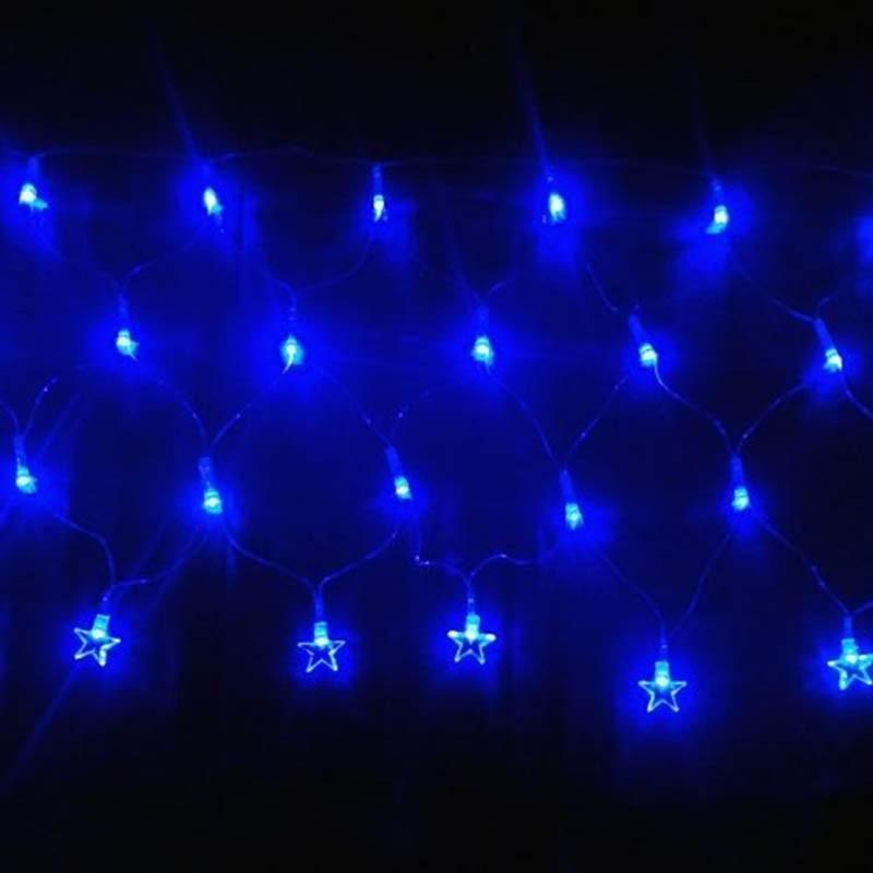Pisca Pisca Led Cascata Estrela De Natal 120 Lampadas Enfeite 8 Funçao Azul (JA80504 azul)