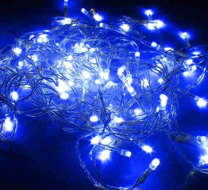 Pisca pisca Natal 100 LEDs Azul Natalino 8 Funções Fio Transparente 9 Metros (NTL2100A127V)