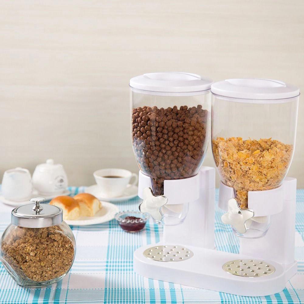 Porta Cereal Gourmet Duplo Acrilico Graos 3,5 L Sucrilhos Granola Cozinha