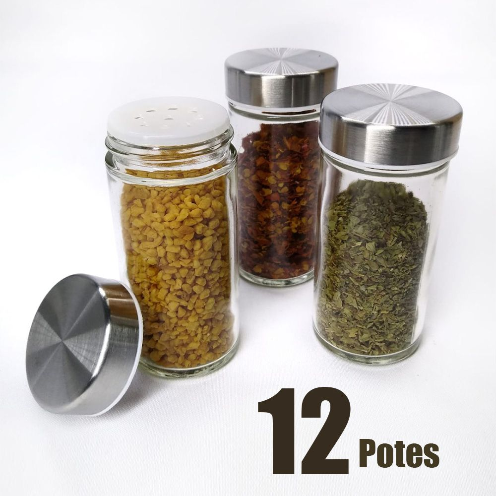 Porta Condimento Tempero Inox Vidro 12 Potinhos Gira Cozinha Restaurante