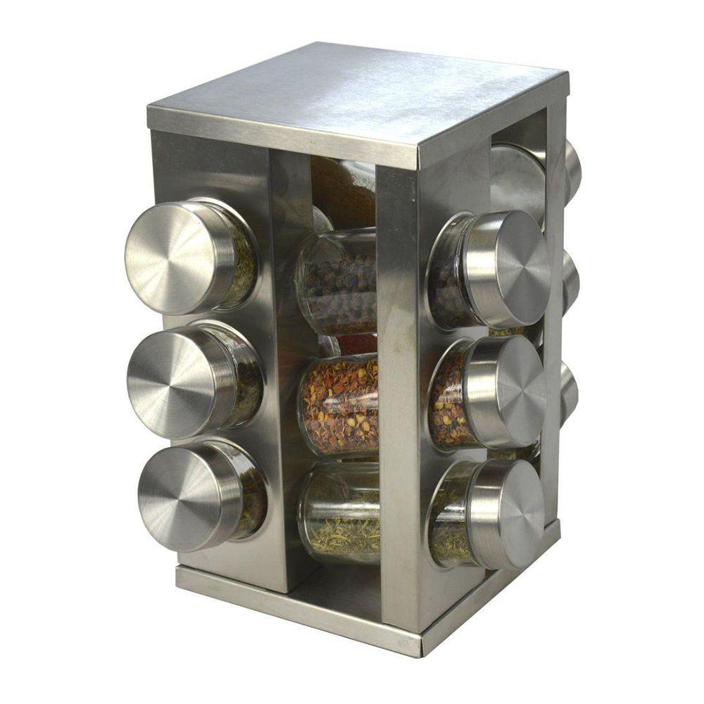 Porta Condimento Tempero Inox Vidro Giratorio Cozinha 12 Potes Restaurante