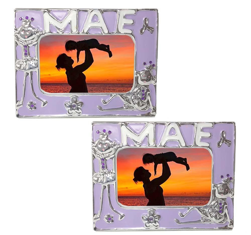 Porta Retrato Moldura Para Foto Mae Mamae Vintage Retro Fotografia Mini Lilas 2 Unid