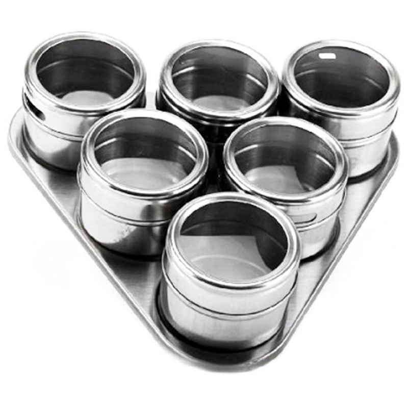 Porta Temperos E Condimentos 6 Potes Magnetico Em Aço Inox