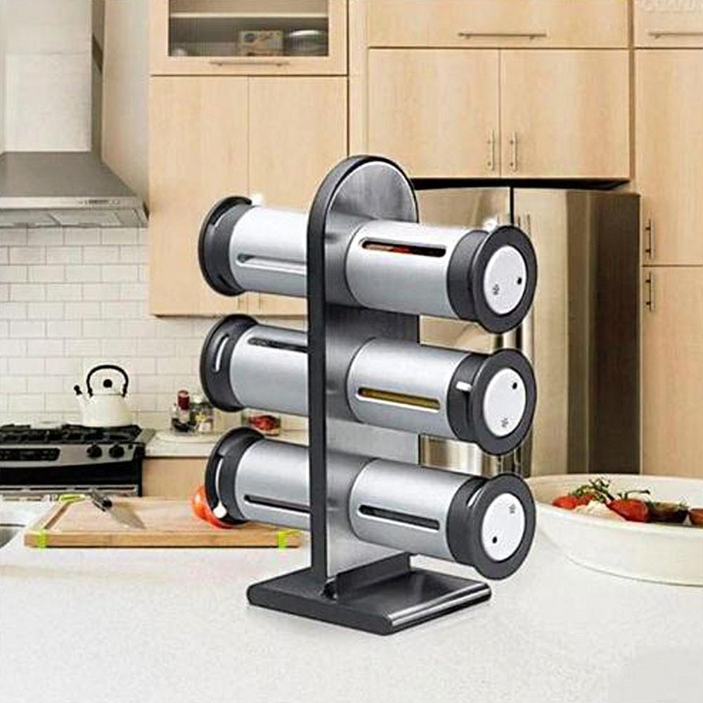 Porta Temperos Magnetico 6 Peças Condimentos Cozinha Casa Restaurante Suporte Geladeira Ima