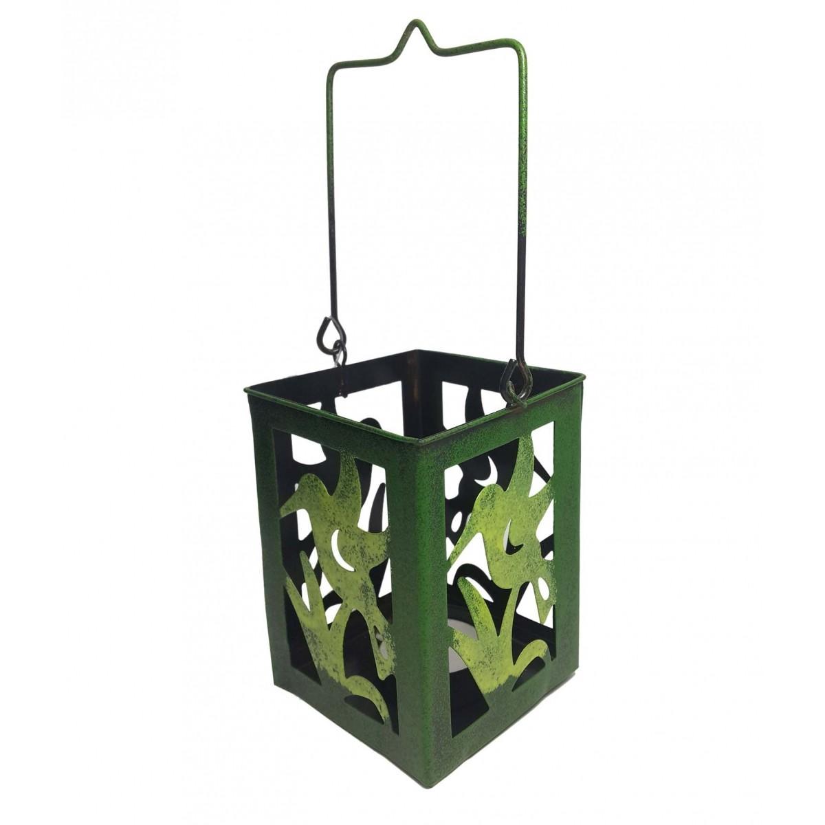 Porta Vela Decorativo Marroquina Enfeite Jardim Metal Beija Flor Verde Pequena 2 Unidades (jard-75)