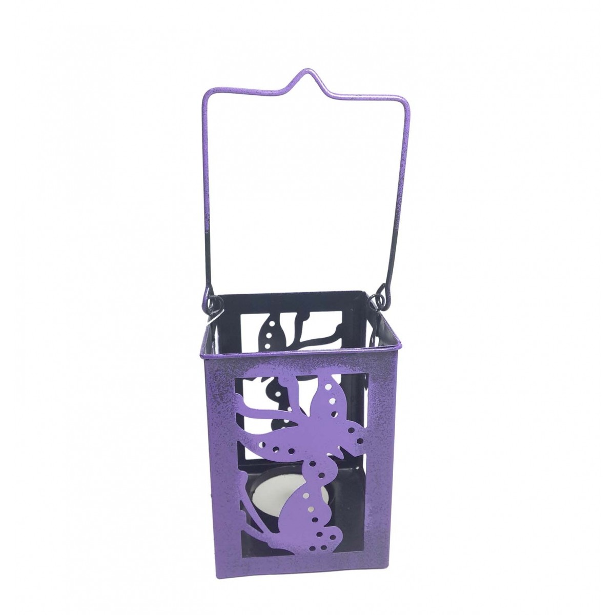 Porta Vela Decorativo Marroquina Enfeite Jardim Metal Borboleta Lilas Pequena Kit Com 2 (jard-75)