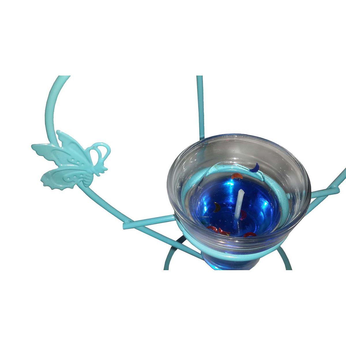 Porta Vela Metal e Vela Copo Vidro Coraçao Azul (BL-1050-G)