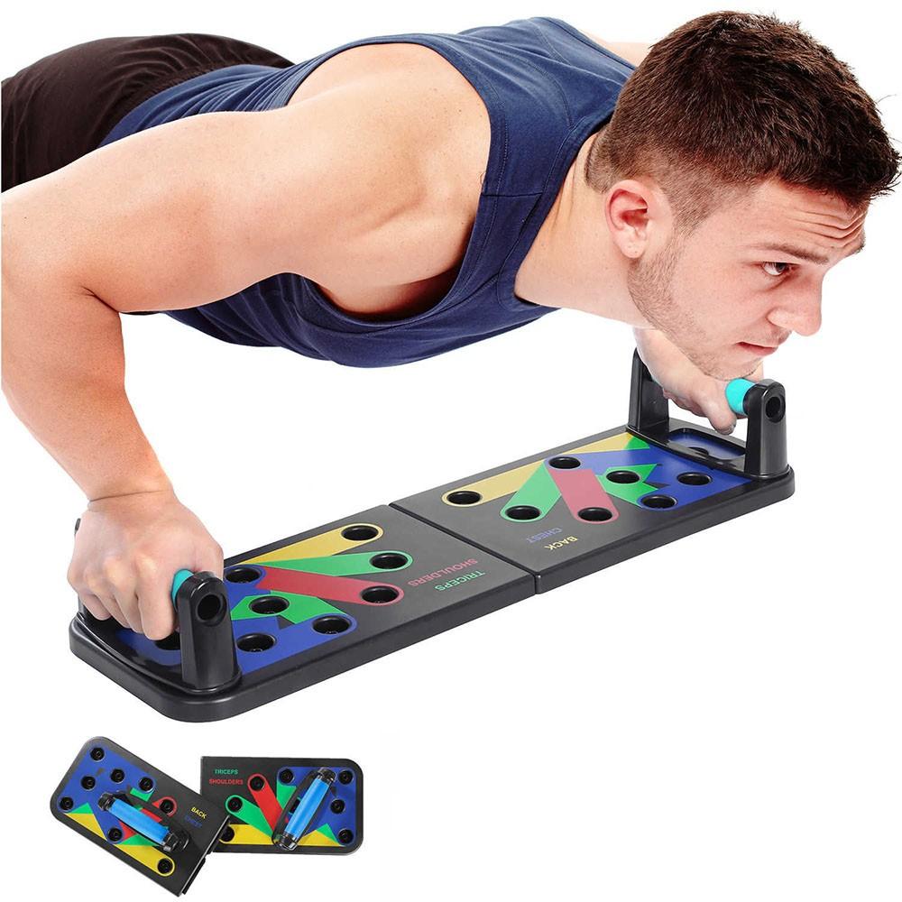 Prancha Para Flexão De Braço Musculação Fitness 9 em 1 Treino Livre Triceps Peito Costas Dobrável Apoio