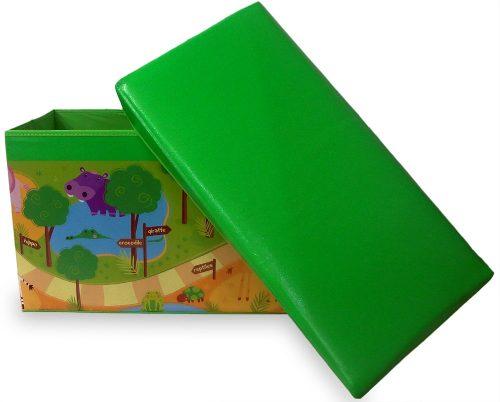 Puff Bau Infantil Para Guardar Brinquedos Caixa Organizadora Verde (PF-4)