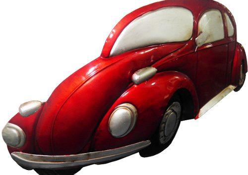 Quadro Carro Fusca 3d Para Parede Em Metal Deco Vintage Retro Vermelho (ENFT-5)