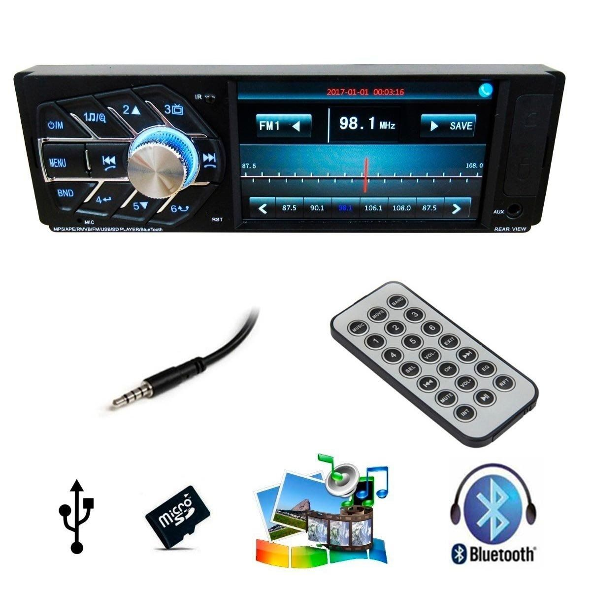 Radio Bluetooth Automotivo Mp5 Tela Lcd Fm Usb Carro Cartao (4124)