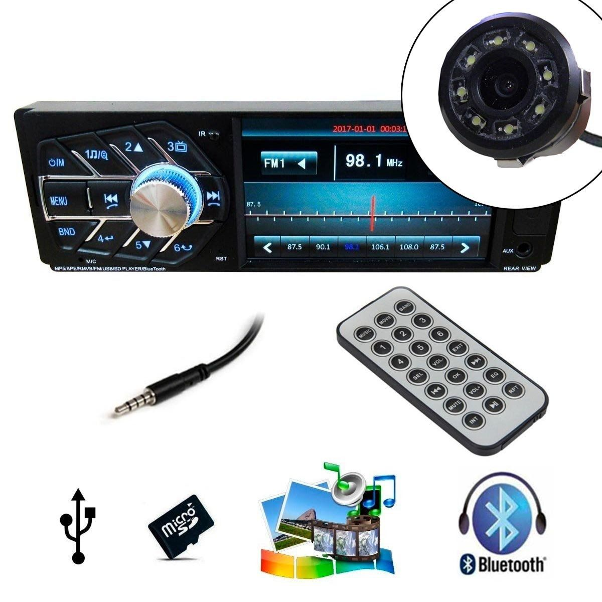 Radio Com Camera De Re Automotivo Bluetooth Mp5 Lcd Controle (4124/COM Camera de Ré)