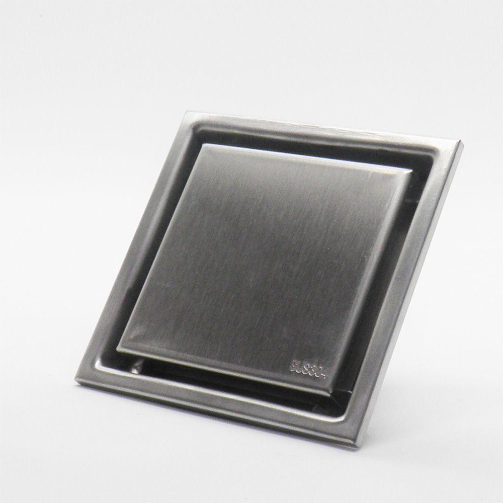 Ralo Anti Odor e Inseto Chapa Lisa Aço Escovado Inox 10x10