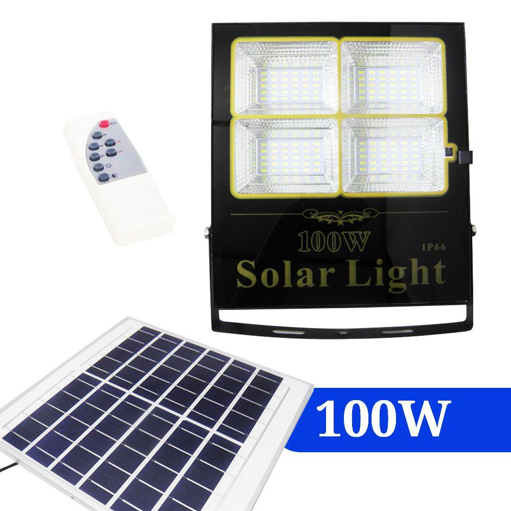 Refletor 100W Painel Solar Luz LED Holofote Controle Remoto Resistente Agua