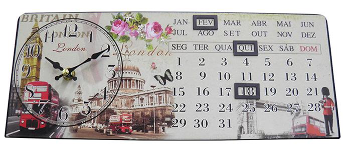 Relogio Calendario De Mesa Londres Vintage Retro Decoracao (XIN-06)
