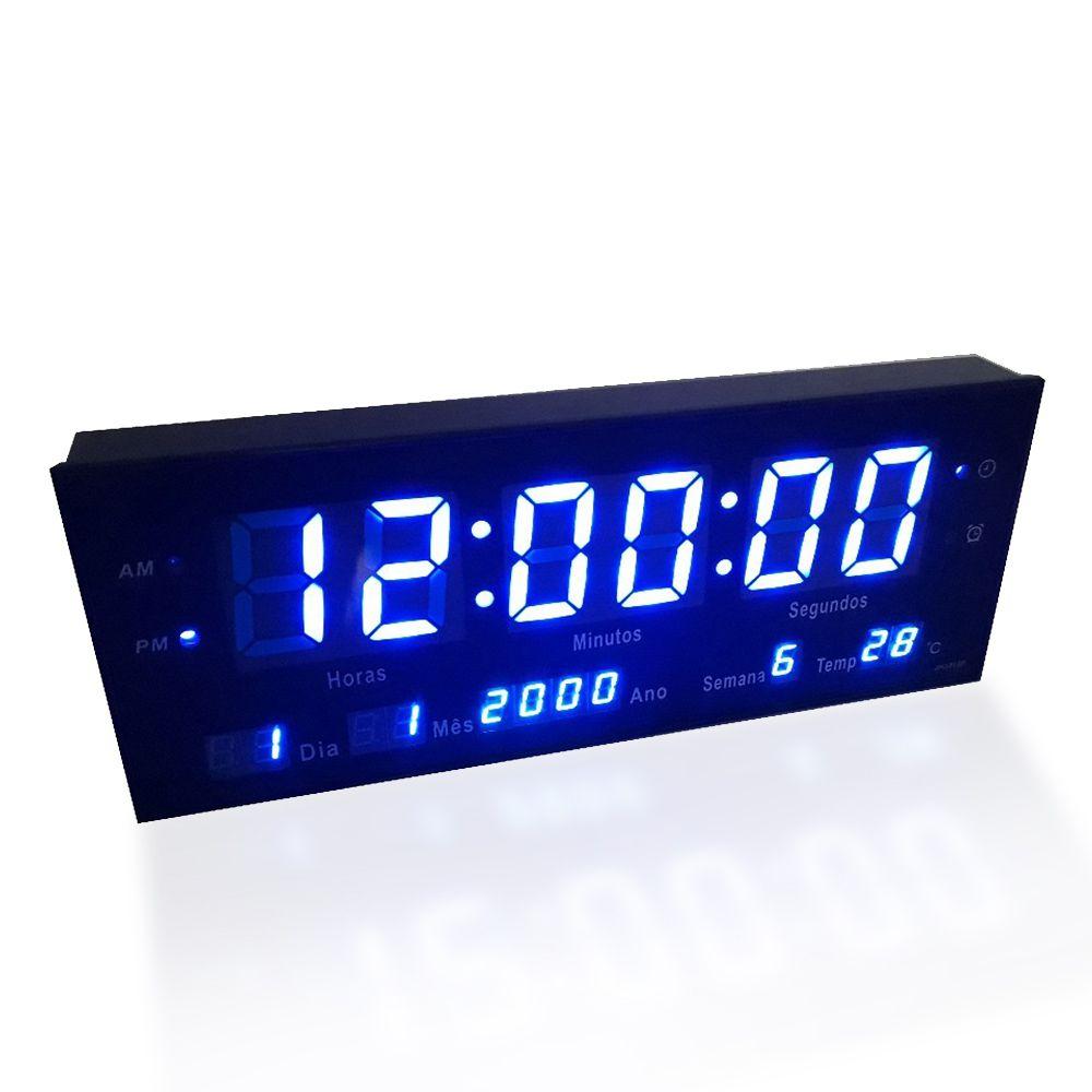 Relogio De Parede Com Led Azul Digital Som Data Temperatura (rel-61)