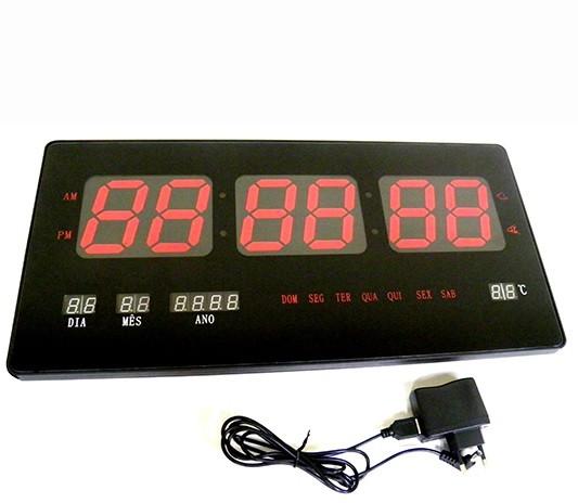 2b38fccf810 Relogio de Parede Digital Led Alarme Data Calendario Termometro  (BSL-REL-54) - BRASLU