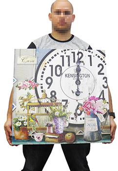 Relogio De Parede Grande Vintage Retro Decoracao Vaso De Rosas Com Gaiola (XIN-05)