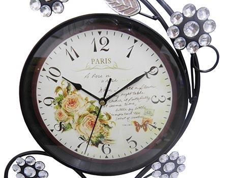 Relogio De Parede Vintage Retro Para Decoracao Paris com Flores (REL-7)