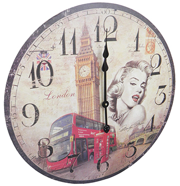 Relogio De Parede Redondo Grande Vintage Retro Decoracao Marilyn Monroe (XIN-02)