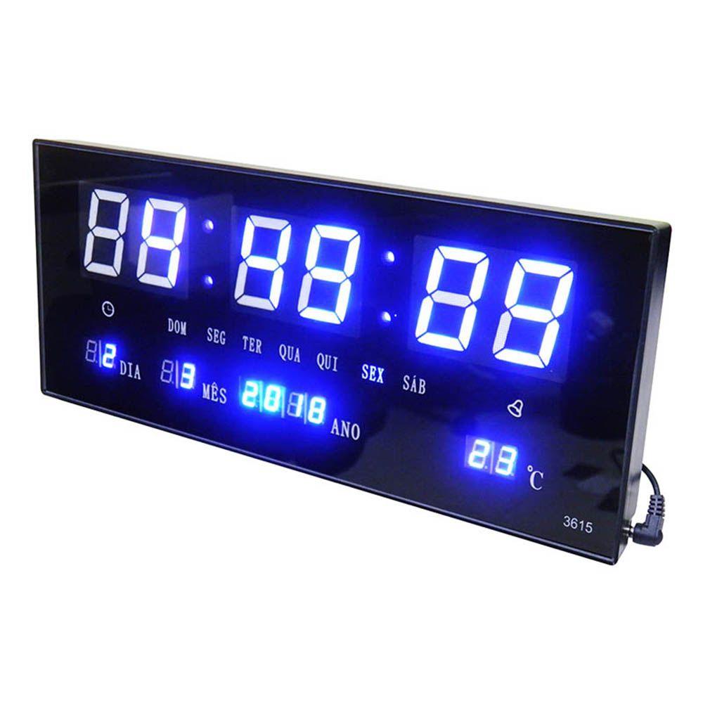Relogio De Parede Som Termo Temperatura De Led Azul Digital (rel-56)